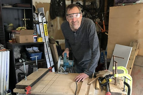 Mike Wilkins, creates sculptures and tables from reclaimed materials